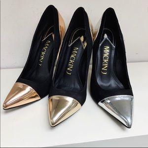 Mackin J Shoes - Mackin J Black/Rose Gold Metallic Pump
